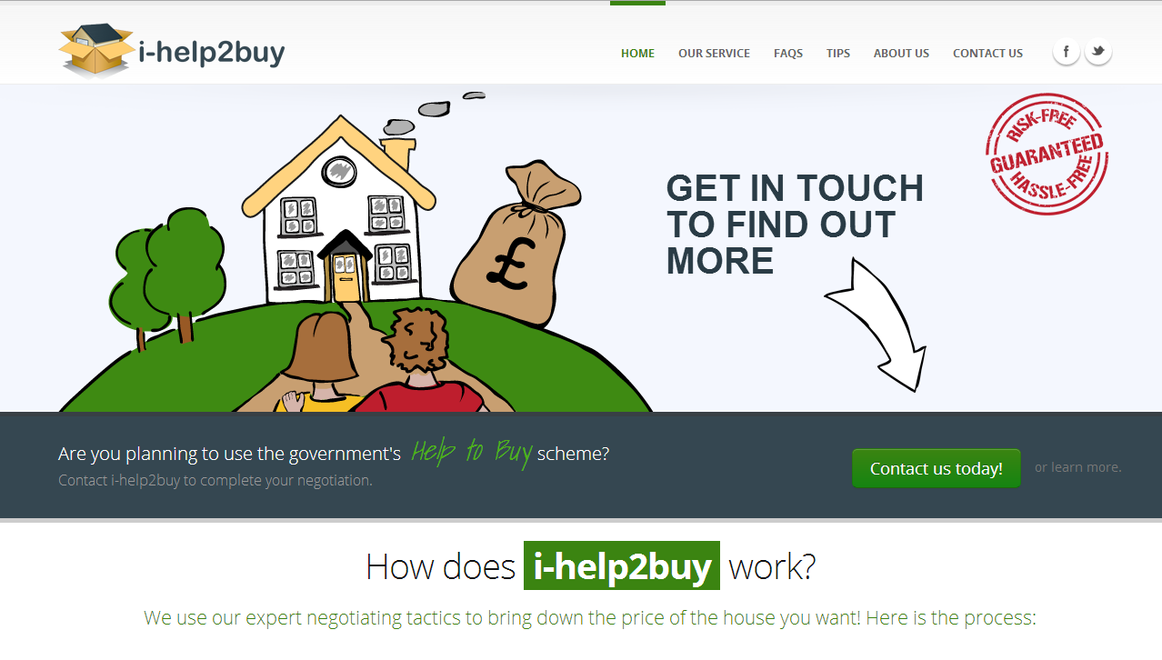 Screenshot of i-help2buy.co.uk homepage